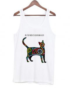 All you need is color and a cat Tank Top