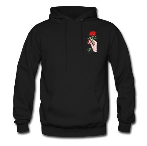 rose in hand hoodie