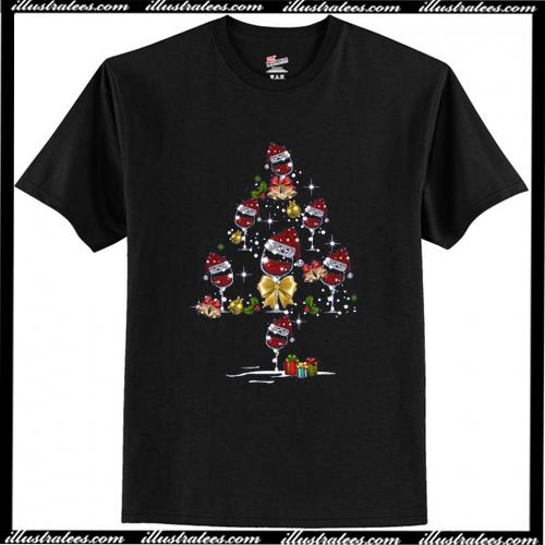 Wine Christmas Tree Shirt.Wine Glass Red Santa Hat Diamond Glitter Christmas T Shirt