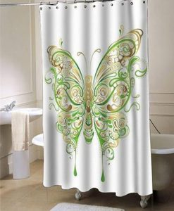 Abstract Floral Butterfly Shower Curtain AI