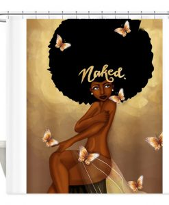 Afro Hair Fashion Girl Have A Bath Naked Shower Curtain AI