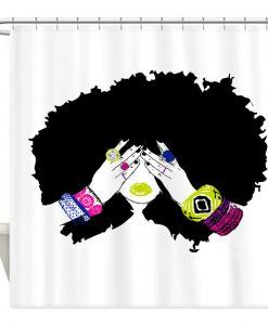 Afro Hair Shower Curtain AI