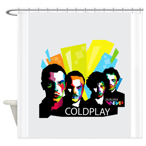 Coldplay Typography Shower Curtain Customized Design For Home Decor AI