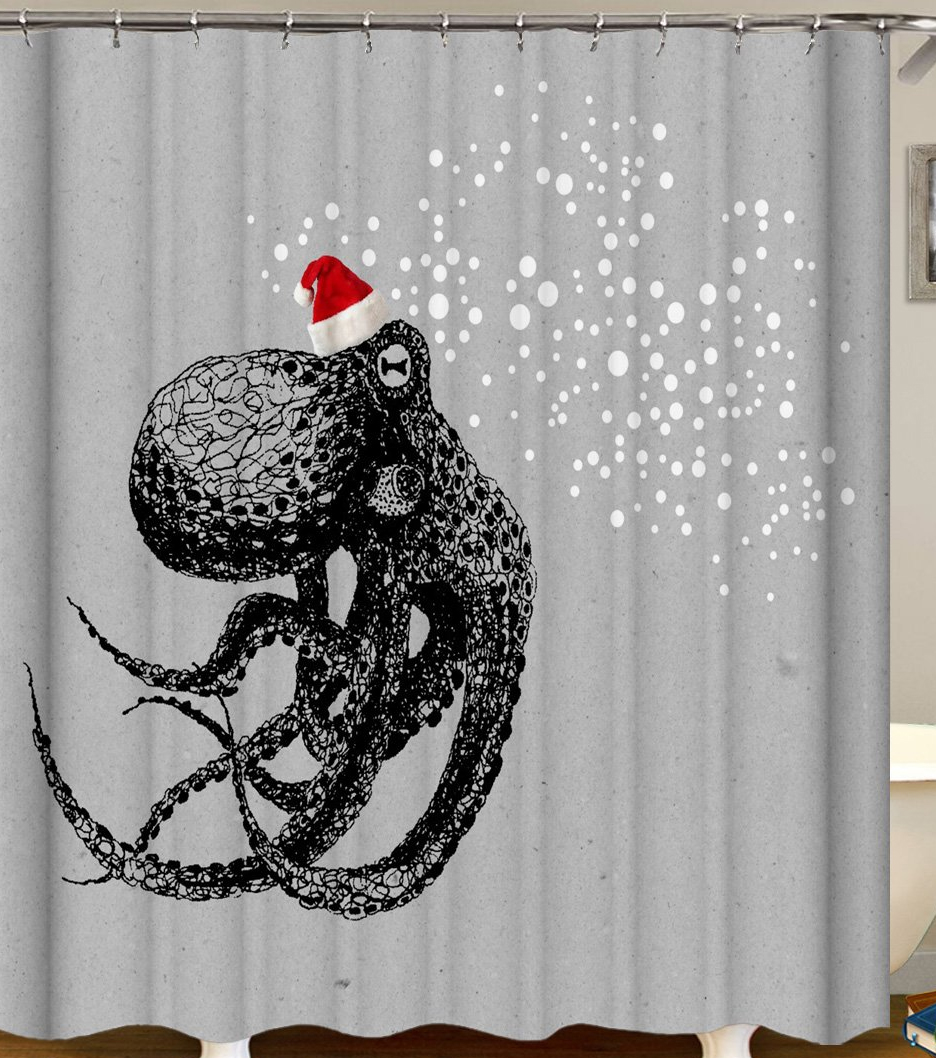 Octopus Shower Curtain Of Christmas Spirit Octopus Ai