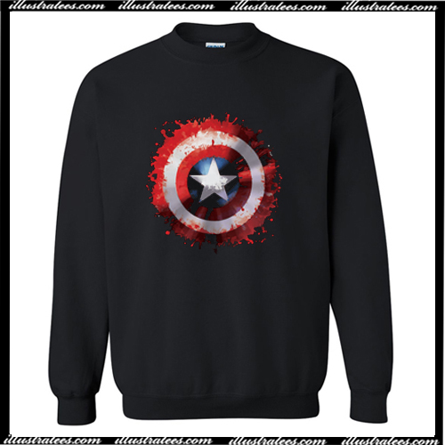 Marvel Avengers Assemble Captain America Art Shield Badge Sweatshirt AI