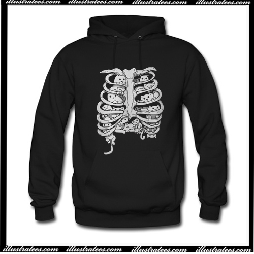 Skeleton chest cat Hoodie AI