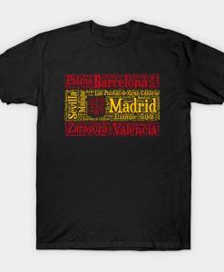 Spain Flag with City Names Word Art T-Shirt AI