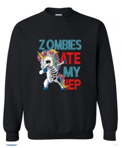 Zombies Ate My IEP Unicorn Funny Teacher Sweatshirt AI