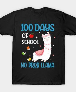 100 Days Of School No Prob LLama T-Shirt AI