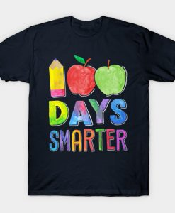 100 Days Smarter 100th Day of School Shirt Women Teacher T-Shirt AI