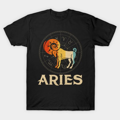 Vintage Retro Aries Zodiac Born March April T-Shirt AI